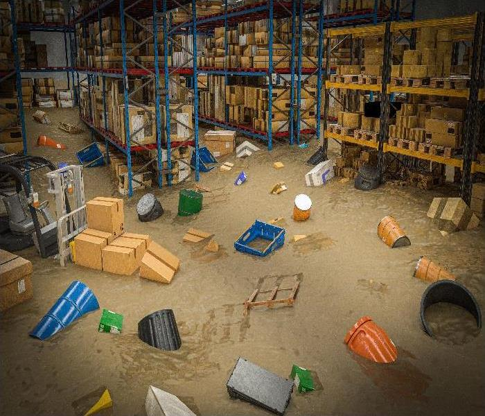 interior of a warehouse full of goods damaged by a flood of water