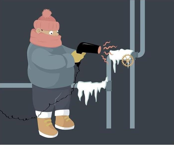 cartoon graphic of person using blow dryer to thaw frozen pipes